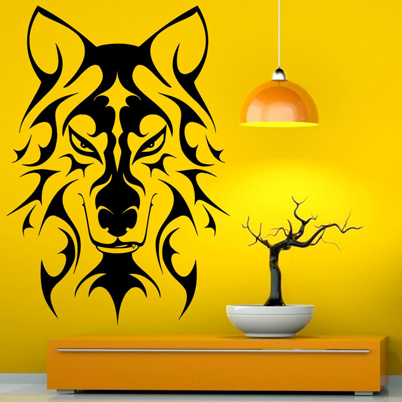 Art Decor Hollow Out Wall Stickers Decals Creative Wolf for Living ...