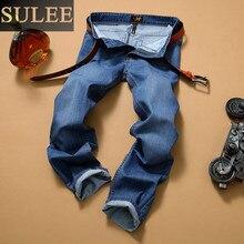 SuLEE 2017 новый Дизайнер Классическая Мода Марка Джинсы Мужчины Прямые Джинсы Высокое Качество синий Цвет Джинсы Для Мужчин