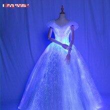 Подгонянное светящееся оптоволоконное свадебное платье, волоконно-оптический светильник светящаяся одежда, волоконно-оптическое платье оптическое светящееся платье