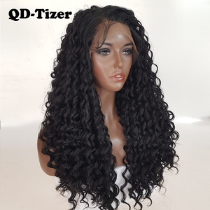 Image 3 - QD Tizer длинные вьющиеся парики, синтетические кружевные передние парики, безклеевые 180% черные волосы, Детские волосы из термостойкого волокна