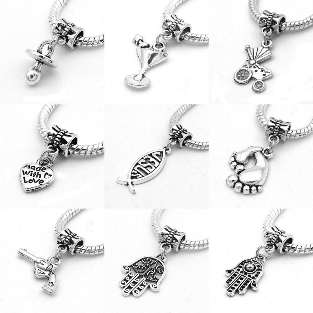 Police Dept Badge Handcuffs Gun Charms For Bracelet Big Hole Beads Free Shipping