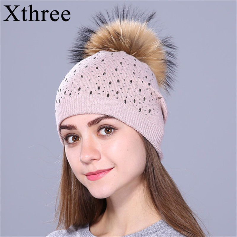 Xthree Knitted Beanies Winter Hat For Women And Girls Real Raccoon Fur Pom Pom Hat Wool Skullies Female Cap