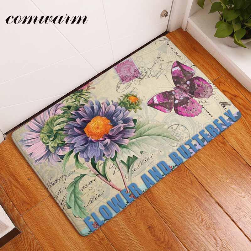 Comwarm Anti Slip Door Mat Vintage Butterfly