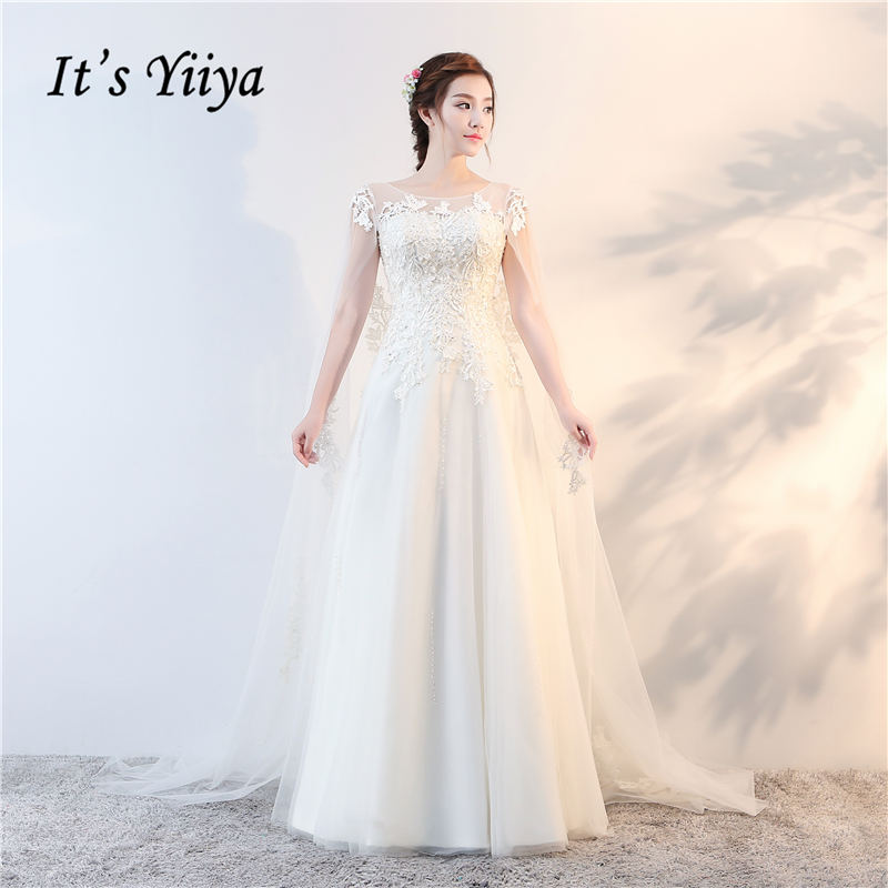 Its Yiiya 2017 Off White Sleeveless O Neck Popular Wedding Dresses