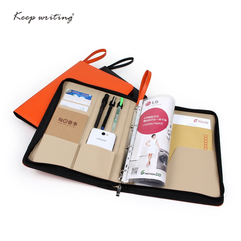 A4 Zipped Conference Folder Business Faux Leather Document Case Bag Portfolio file folder agreement briefcase with