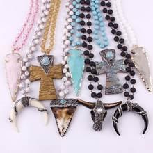 ZWPON этнический камень лавы бусины крест ожерелье с подвеской в форме рога для женщин узел длинное из натурального камня массивное ожерелье бык Череп