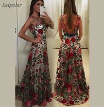 Vestido de festa longo de nova marca luxuosa, bordado, vestido de corrida, verão, malha, slim, longo