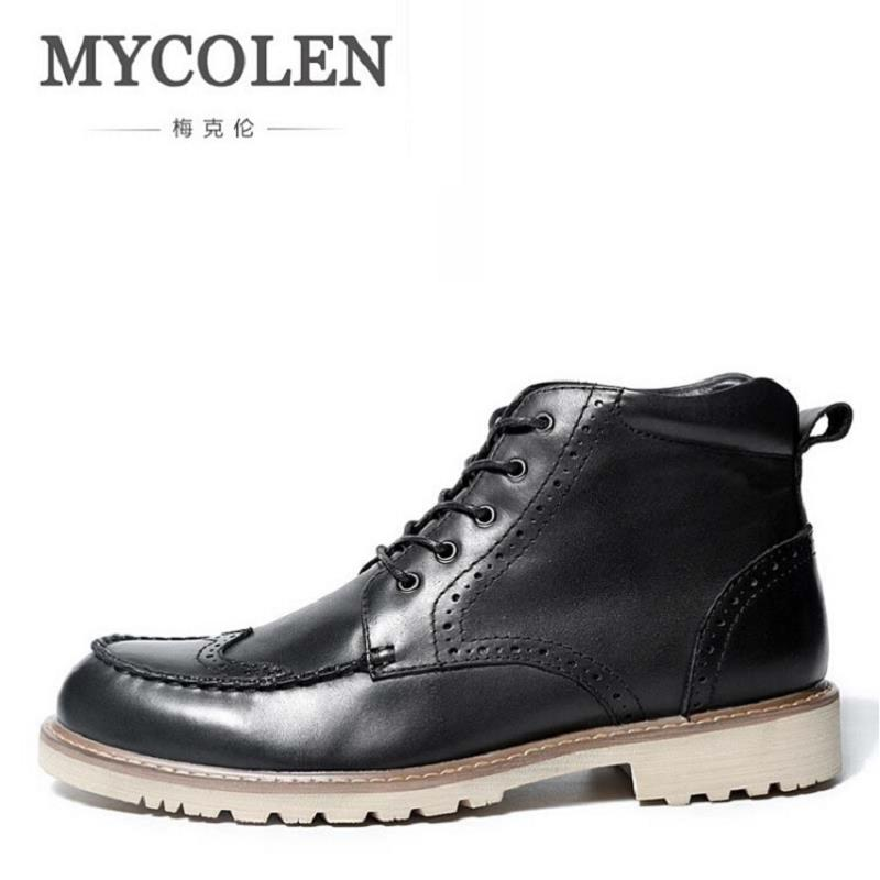 MYCOLEN Men Fashion High Top Martin Shoes Cowhide High Quality Lace-Up Classic Leather Ankle Boots Brand Design Winter Shoes 2016 new arrival men winter martin ankle boots pu leather high quality fashion high top shoes snow timbe bota hot sale flat heel