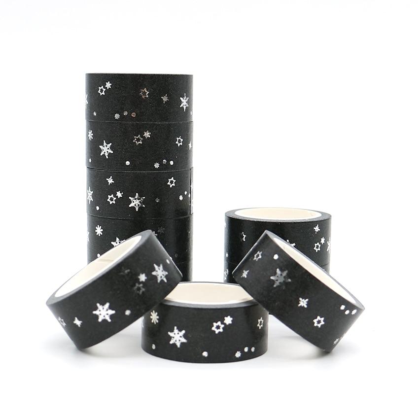 5m*15mm Christmas Star Snowflake Foil Washi Tape Japanese Stationery Masking Tape Adhesive Decorative School Tool Halloween