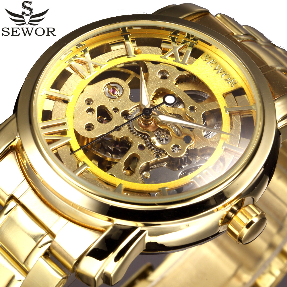 Automatic Mechanical Watch Men Relogio Masculino SEWOR Gold Stainess Steel Skeleton Watch Clock Male Montre Homme Wristwatch