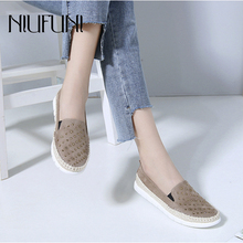 Plus Size 35-42 Autumn Women Leather Loafers Fashion Ballet Flats Shoes Woman NIUFUNI Slip On Rhinestone Boat Shoes Moccasin