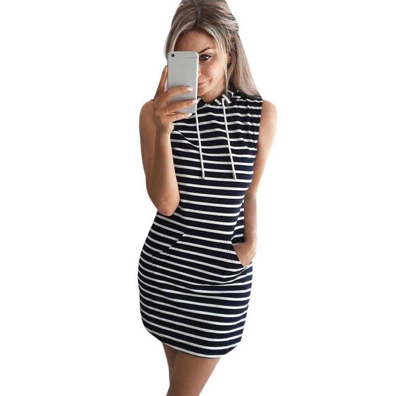 Summer 2017 Women Casual Hooded Pocket Mini Dress Female Stripe Slim Bodycon Sexy Party Club Dresses Vestidos