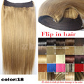 """16 """"-32"""" 100% Pelo Brasileño de Remy Flip En/sobre halo de cabello Extensiones de Cabello Humano #18 marrón claro 80g-220g 1 unids Conjunto"""