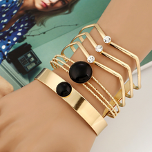 Fashion Metal Hollow Bangle Bracelet Geometric Multilayer Wire Trendy Opened Resin Cuff Bangle Women Jewelry Gift