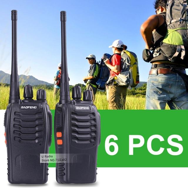 6pcs Baofeng 888S Walkie Talkie 5W UHF 400-470MHZ Handheld Portable Radio 888S Ham Radio 888S walkie talkie