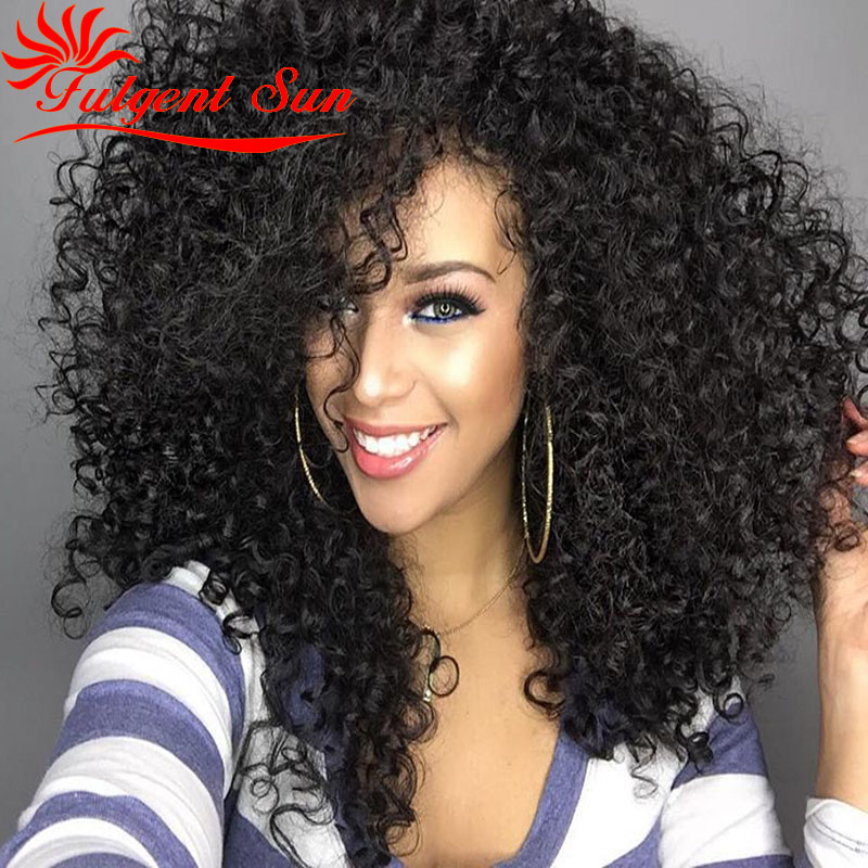 afro kinky curly human font b hair b font wig for black women glueless full lace