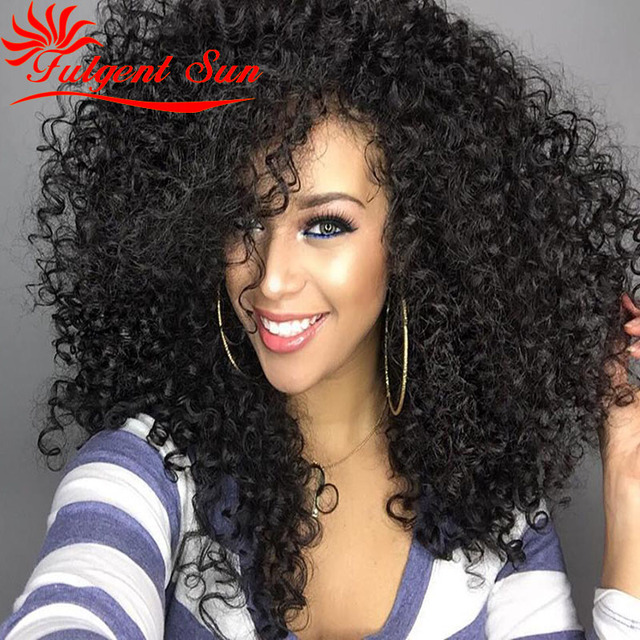 afro kinky curly human hair wig for black women glueless full lace wig indian virgin hair wig Swiss lace 130% density