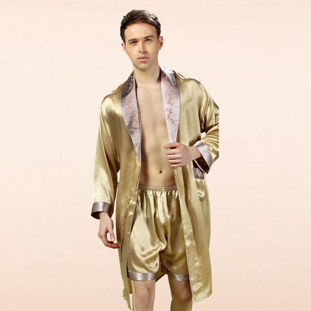 YIER Brand Male Sleepwear Robes Long-Sleeve Shorts Men Pyjamas Pajama Sets Pants 100% Silk Pajamas Set YE2508
