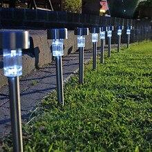 8pc Stainless Steel LED Solar Garden Light Lamp ,Solar Power LED Lawn Lights Outdoor Lighting Luminaria Luz Free Shipping