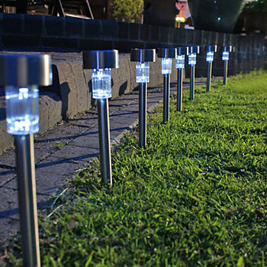 8pc de aco inoxidavel led solar jardim luz da lampada energia solar led gramado luzes