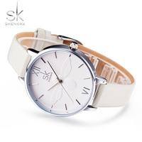 Shengke Women Watch Top Luxury Brand Wristwatches Women Fashion Leisure Clock Relogio Feminino Women Leather Quartz