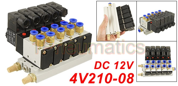 Free Shipping High Quality DC 12V Single Head 2 Position 5 Way 5 Pneumatic Solenoid Valve w Base 1Pneumatics