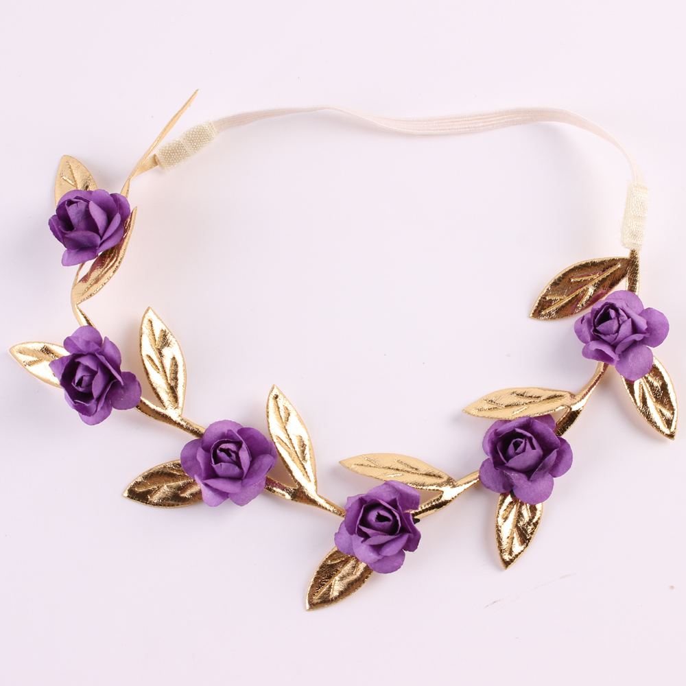 1PC Cute Popular Kids Girl Gold Leaves Rose Flower Garland Chic Wedding Flower Headband Elastic Crown Wreath Garland Accessories handmade big fabric rose flower headband hair garland wedding headpiece floral crown 12 colors