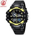 OHSEN Military Army LED Digital Dual Core Watch Mens Sport Date Day Stopwatch Black Rubber Band Wristwatch 50M Dive Swim Watches