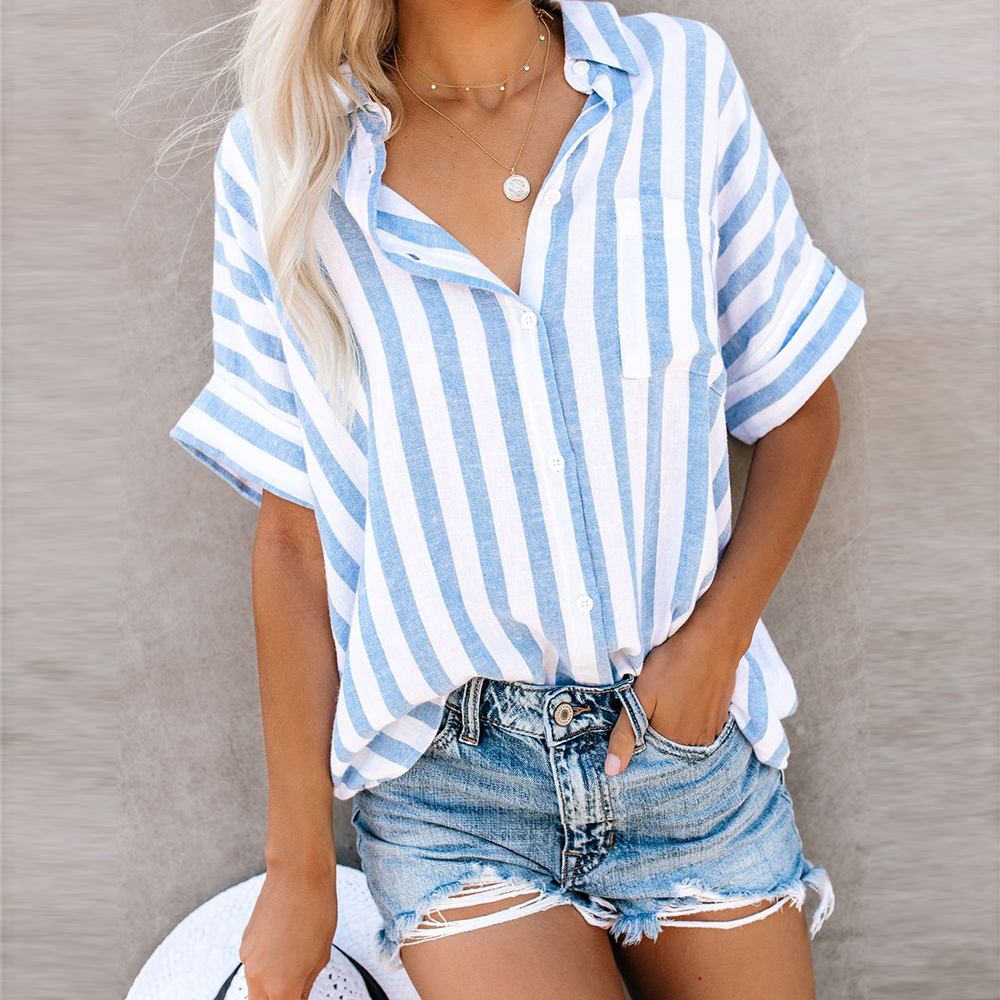 In Stock Blue Striped Linen Blend Top Short Cuffed Sleeves   Blouse   Breast Pocket Casual LadiesTurn down Collar   Shirts