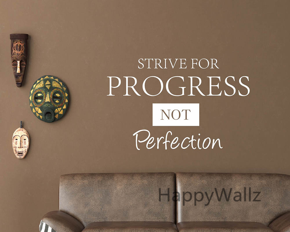 US $10.4 5% OFF|Strive For Progress Not Perfection Motivational Quote Wall  Sticker DIY Decorative Inspirational Quote Vinyl Wall Decal Q78-in Wall ...