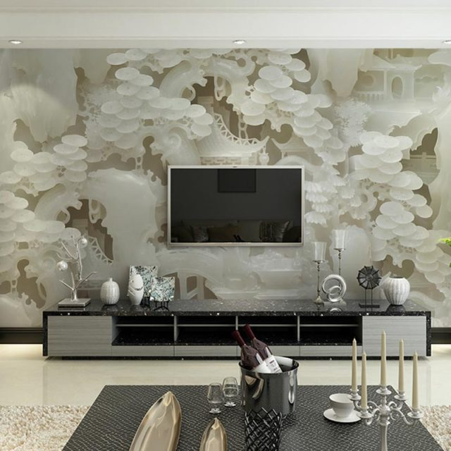 Home Decor Bedroom Wall Murals Living Room TV Wall Papers 3 D Chinese Jade  Photo