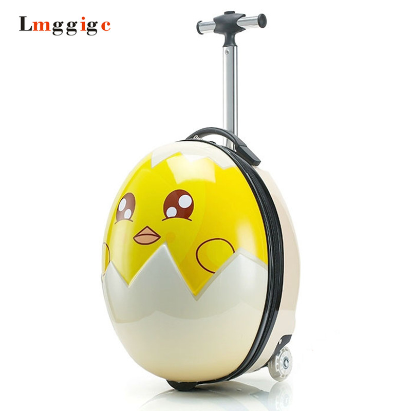 Kids Rolling Luggage, Children's Cartoon Egg Suitcase ,Child Dinosaur picture Trolley Bag ,Boy Girl Gift Carry On Travel Box