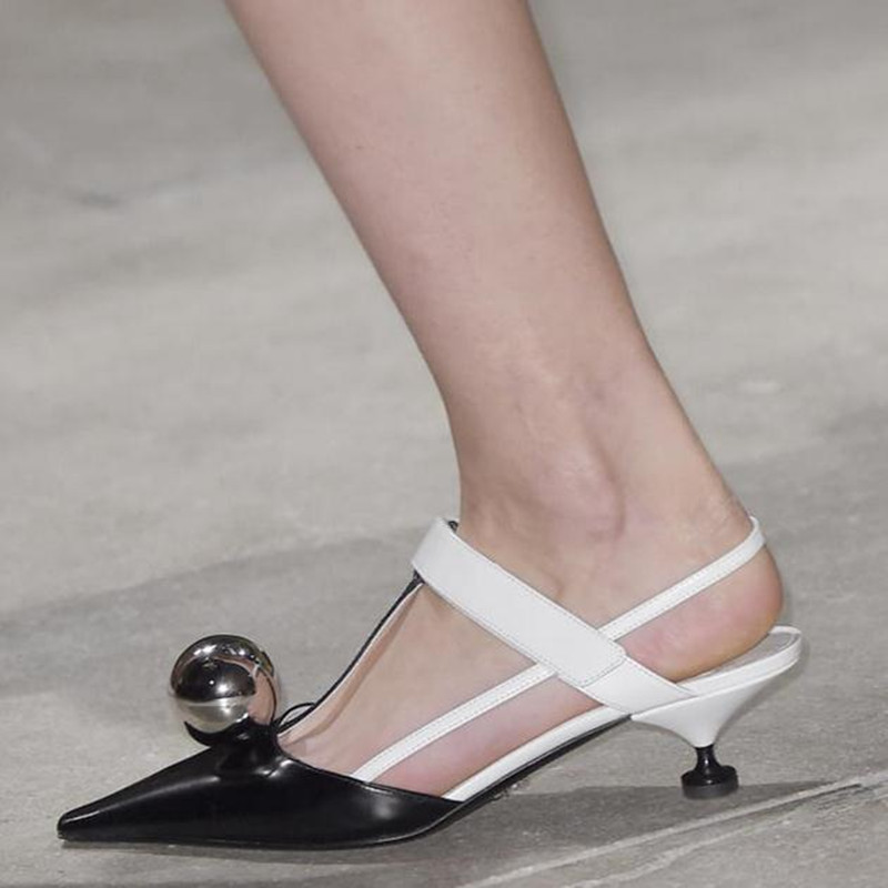 Sexy Female High Heels Metal Round Ball Pointed Head Spell Color T shaped Sandals Women s