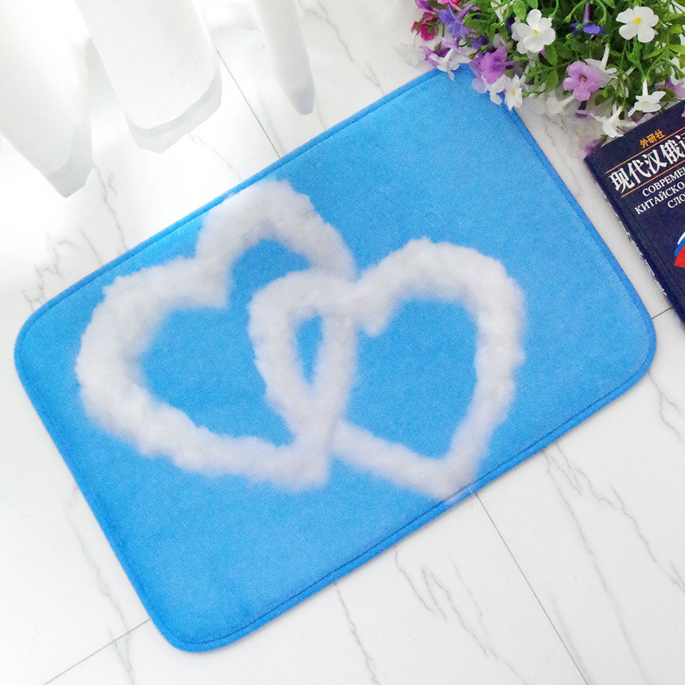 Love Heart Blue Sky White Clouds Entrance Door Mat Outdoor Welcome Home Kitchen  Rugs Mats Washable