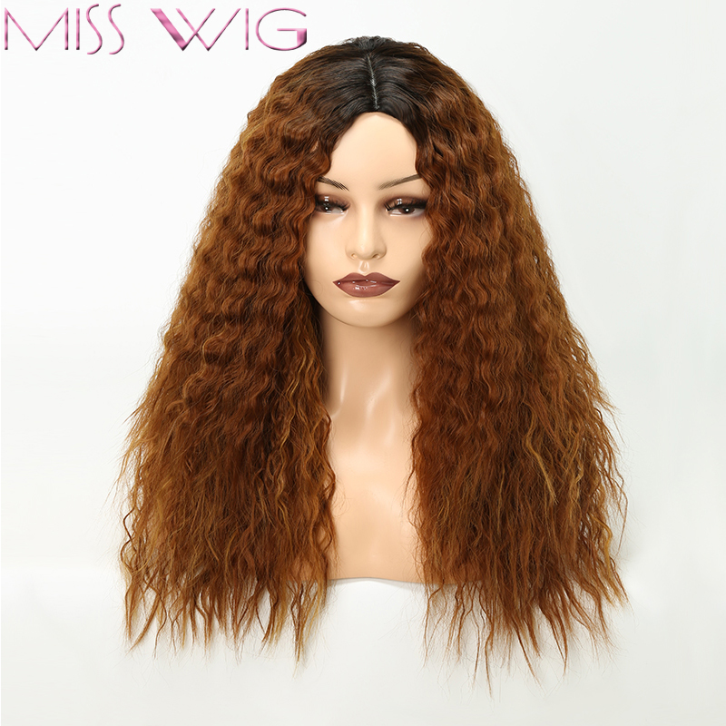 MISS WIG 22 inches Long Afro Kinky Curly Brown hair High temperature fiber Synthetic Wigs African fashion Hairstyle ...