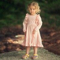 Automne Filles Robe Rose À Manches Longues Robes de Princesse 3-12A Enfants Vêtements Enfants Costume Bébé Fille Fête D'anniversaire Décontracté Robe