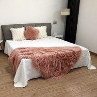 Искусственный мех волосатые монгольских овец прикроватные одеяло, большие размеры розовый цвет меха кашне, серый лохматый одеяло, ПЭТ одея