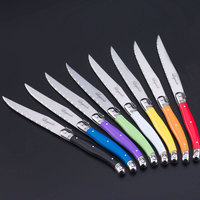 Free shipping 8pcs/set 9 inch Laguiole Steak Knife Rainbow Knife Stainless steel Dinner Knives w/ABS Handle cuchillos chuleteros