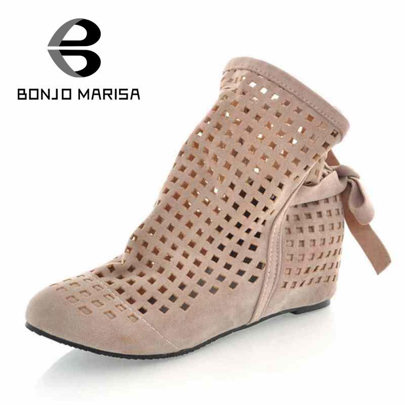 Big Size 34 43 Gladiator Sandals for Women Inside Wedges Round Toe Platform Cutout Sandals Summer