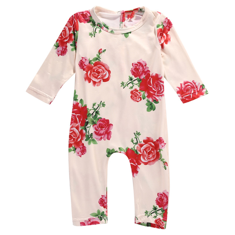 2017 Newborn Toddler Infant Baby Girls Cotton Long Sleeve Flower Romper Jumpsuit Outfits Casual Lovely Clothes fashion 2pcs set newborn baby girls jumpsuit toddler girls flower pattern outfit clothes romper bodysuit pants