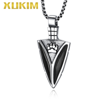 PO425 Xukim Lucky Bear Paw Claw Spear Amulet Jewelry  Silver Pendant with Chain Necklace Set