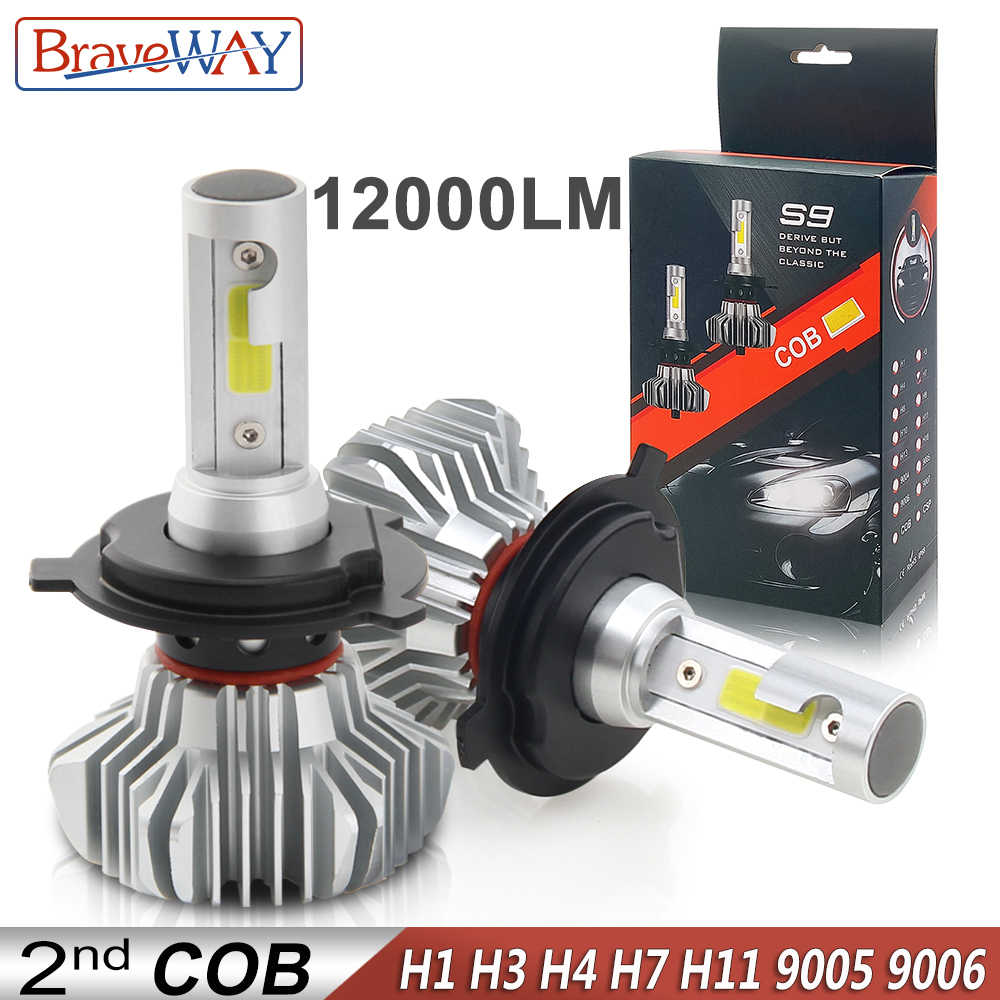 BraveWay LED Car Light H4 H7 H8 H11 9005 9006 H1 BH3 BH4 Headlamp 12000LM 6500K 80W 12V LED Bulb for Auto Led Headlight for Cars