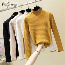 eb6fd76e64 Onlyoung 2018 Pull Femme Women Turtleneck Sweater Knitted Pullover Long  Sleeve Yellow Jumper Autumn Winter White