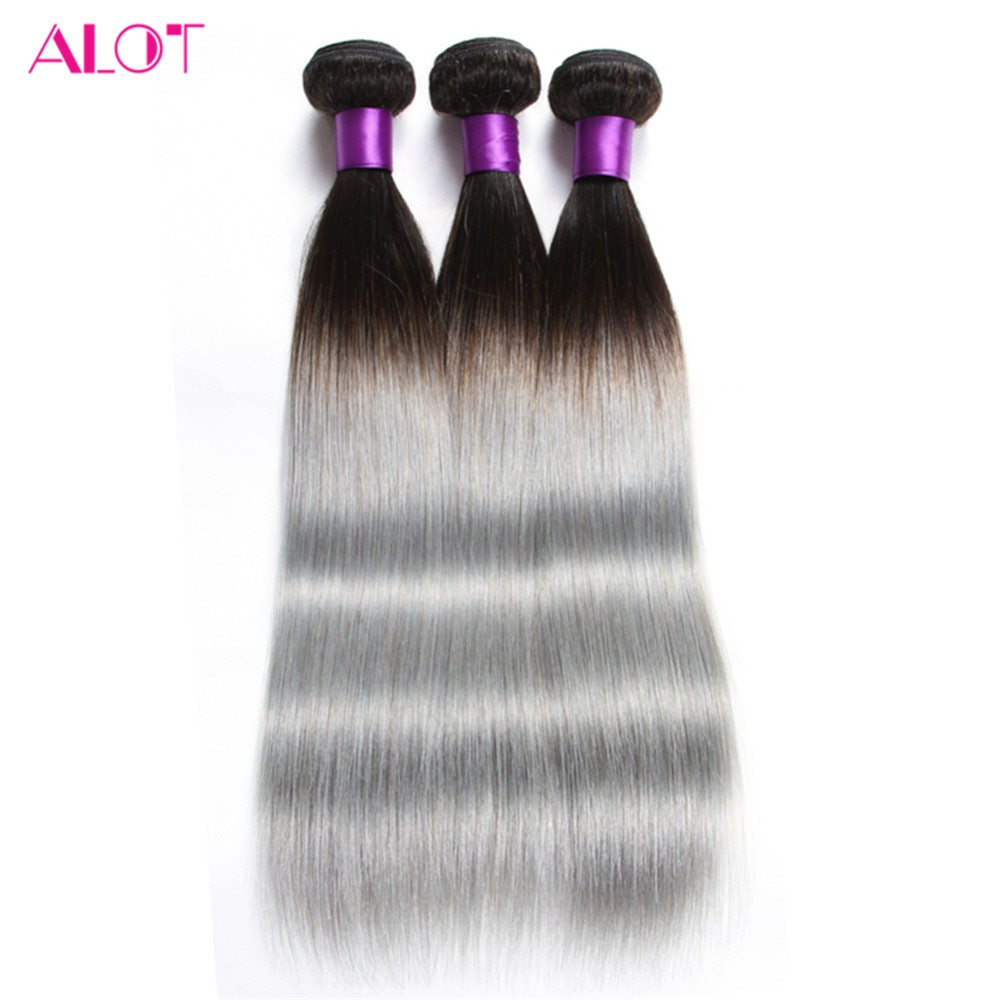 ALOT Pre-Colored 1B/Grey Human Hair Weave Bundle Deals Brazilian Straight Ombre Hair 3 B ...