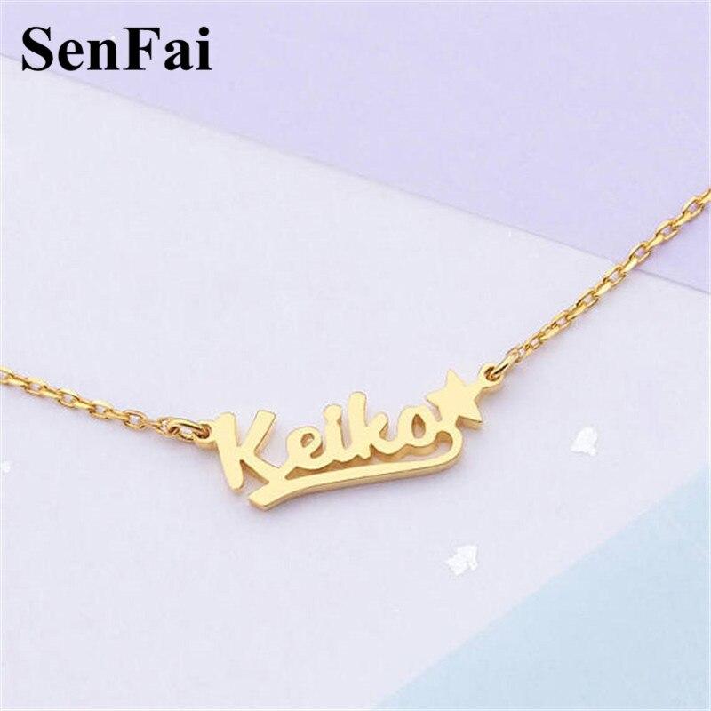 4b92408db3df Collar de nombre personalizado Senfai para mujer, hombres, personalizar las  iniciales del monograma, ...