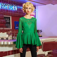 Clocolor Women Top Round Neck Slim Patchwork Solid Green Full Flare Sleeve Autumn Fashion Modern Girls