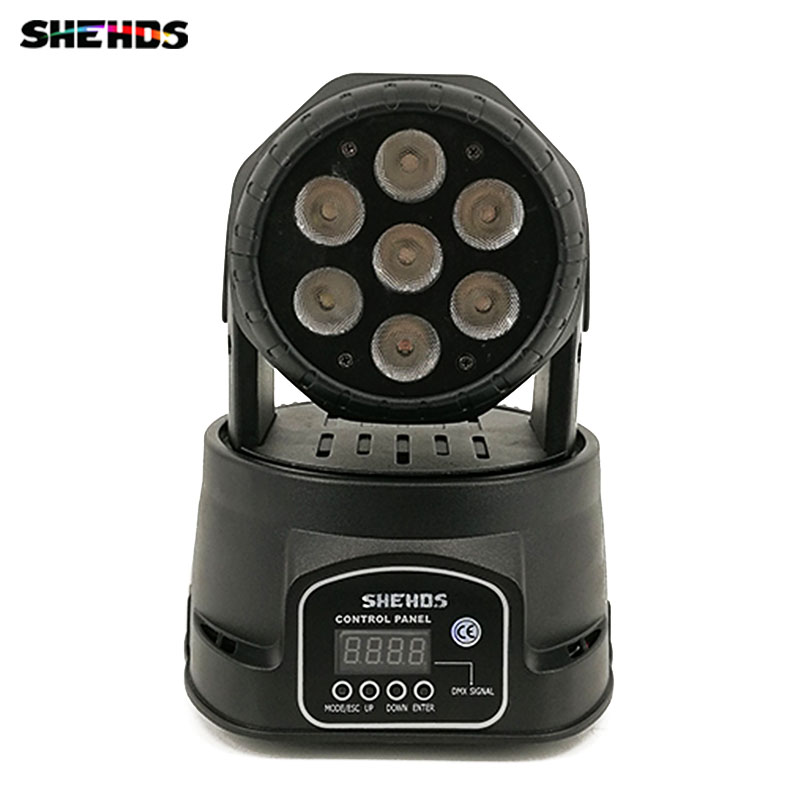 Fast Shipping LED Wash 7x18W RGBWA+UV Moving Head Lighting 6in1 BGBWA+UV for Disco DJ KTV 12/16DMX Channels,SHEHDS moving head led wash stage lighting 7x18w rgbwa uv 6in1 birthday dmx512 for disco dj music party ktv nightclub lights