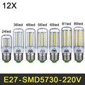 Mini LED Lamp E27 220V LED Light SMD5730 LED Bulb Corn Light 24/36/48/56/69/81/89LEDs Chandelier Lamps Home Lighting 12pcs/lot