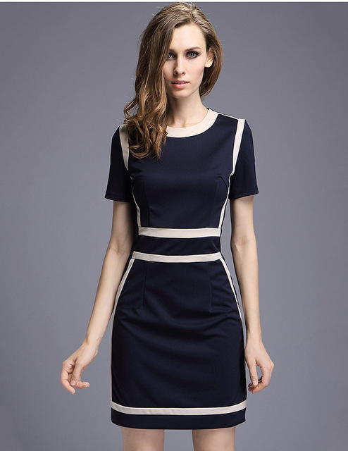 Women S Slim Fashion Europe Style O Neck Office Dresses New Arrival Black White Patchwork Design
