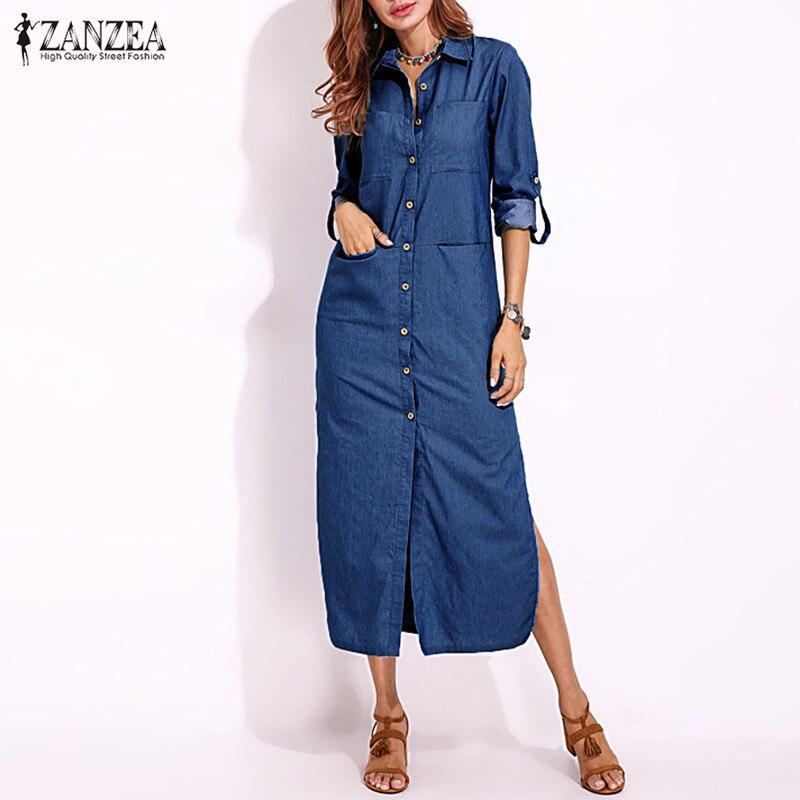 US $14.69 40% OFF|Plus Size Denim Dress ZANZEA Women\'s Sundress Shirt  Dresses 2019 Spring Button Maxi Vestidos Female Split Jeans Elegant Robe-in  ...